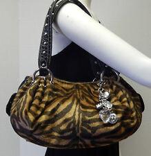 Kathy Van Zeeland Animal Print Fur Handbag Shoulder Bag Purse w/Key Chain Charm