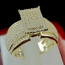 Cut Ladies Wedding Engagement Ring 925 Yellow Gold Finish 2.07 Ct Diamond Round