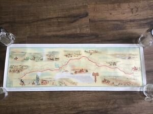 1960 Pony Express Centennial Map Poster American Pioneer Trails Assoc Old West