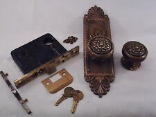 Antique Cast Bronze Door Knob Entrance Set Cylinder Key  #609
