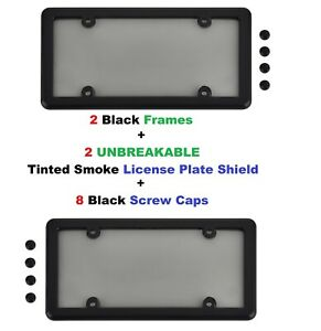 2 Black Frames + 2 UNBREAKABLE Tinted Smoke License Plate Shield for Vehicles