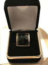14k Yellow Gold Faceted Onyx Size 7 - 9g