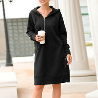 Fashion Women Zipper Long Hooded Sweatshirt Long Sleeves Hoodie Dress Pullovers