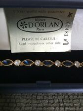 Vintage Dorlan Paris Gold tone Simulated Sapphire And Diamond Bracelet