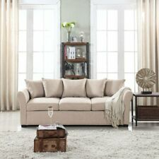 Beige Traditional Ultra Comfortable Linen Fabric Living Room Sofa