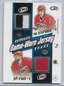 2002 Heads Up Authentic QUADS Game-Worn Jersey BRIND'AMOUR FRANCIS IRBE O'NEILL