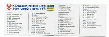 ITV Digital Like Clubcall Football Fixture List Card 2001-2002 Kidderminster