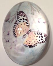 Butterfly Glass Paperweight Oval Vintage