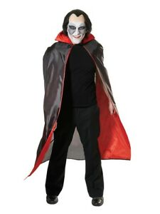 Mens Ladies Black Red Cape Vampire Dracula Halloween Fancy Dress One Size