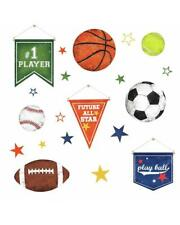 Sports Ball 20 Peel & Stick Wall Decals Decor NEW NIP