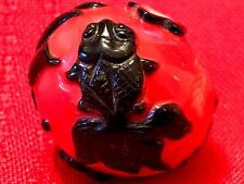 "LARGE KOI FISH 3""/76.2MM ANTIQUE HAND CARVED CHINESE IMPERIAL PEKING GLASS BEAD"