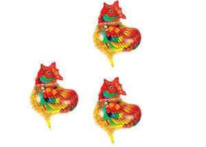 3 X Folienballon Tier Hahn Heliumballon Luftballon Cock Kindergeburtstag
