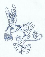 One Embroidered Flour Sack Towel - HUMMINGBIRD AND FLOWER - BLUE WORK