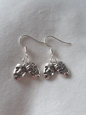 """Handmade theatre/drama masks earrings (tragedy/comedy)  (""""antique silver"""")"""