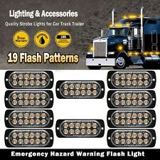 10x Double Row CREE 12LED Amber Flash Emergency Hazard Warning Strobe Light Bar