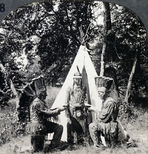 Keystone Stereoview Indian Hunters & a Teepee in MN from 1910's Education Set #A