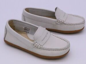 GEPPETTO'S TODDLER BOY'S DRESS SHOES WHITE LEATHER PENNY LOAFERS S 2034 NEW