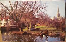 Uk Postcard Pulls Ferry Norwich Cathedral England Swans Cotman Jarrold 1967