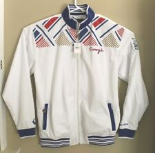 COOGI Australian Mens Track Jacket Sz 3XL White Blue Red Striped 5 Star Crest