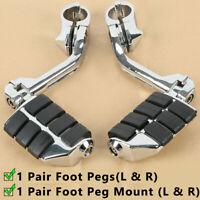 "Adjustable Highway Foot Pegs 1 1/4"" 32mm Long Angled Mount Kit For Harley HONDA"