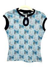 Oakley Womens Blue Geometric Print Seeveless Golf Tennis Top Shirt Sz Medium
