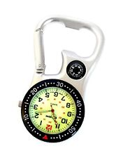 White Silver Clip-on Carabiner Fob Watch With Compass for Doctors Nurses Chefs