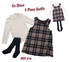 Baby Girls 3 Piece Dress, Tights and T-shirt Winter Outfit Set Tartan Pinafore