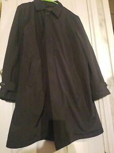 MARKS & SPENCER/COLLEZIONE Mens Poly Blend Long Coat, Zip-Out Liner size L Black