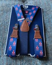 Nwt Saddlebred Lobster Suspenders Regular Size Blue Red Brown Silver Clamps T6