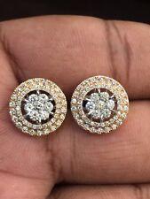 Pave 1,19 Cts Runde Brilliant Cut Natürliche Diamanten Halo Ohrringe In 14K Gold