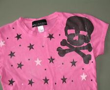 Pink SOURPUSS Stars,Skull & Crossbones T-Shirt Punk Women's S Psychobilly,Goth