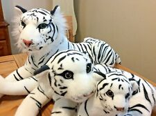 "3 White Bengal Siberian Tigers Cat Stuffed Animal Plush Soft Big 44"" Small 14"""
