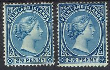 FALKLAND ISLANDS 1891 QV 21/2D - 2 SHADES