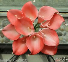 Coral Wedding Flowers Latex Real Touch Flower Coral Calla Lilies Bouquet Natural