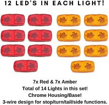 "4"" Inch- 7xRed 7xAmber 12 LED Double Bullseye Side Marker Clearance Light Camper"
