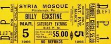 Billy Eckstine 1966 Tour Unused Syria Mosque Concert Ticket / Ex 2 Nmt