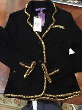 NWT Runway Ralph Lauren Purple Label Black Knitted Jacket Coat $3998 Gold Detail