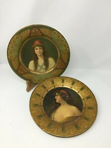 2 Antique Tin 1900-1910 Royal Saxony Art Plate No. 102 + 105 Una Gitana, Irene