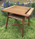 Old Hickory Table,Original,50s Mid-century,Adirondack Style,Indiana,Rattan Shelf