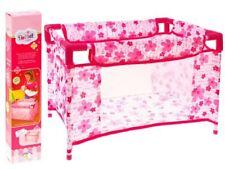 Puppen-Reisebett Rosa Blumen bett Mädchen-Geschenk Babypuppe Krippe NEU