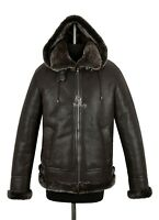 Men's B3 Shearling Sheepskin Jacket Brown Brown Fur Hooded Winter Jacket A-Pilot