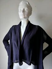 Autumn Cashmere Women's Cotton Draped Cardigan sweater Extra Small Navy  blue