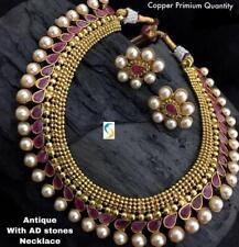 Gold Plated Bollywood Indian Delicate Style Jewelry Bridal Necklace Earrings Set