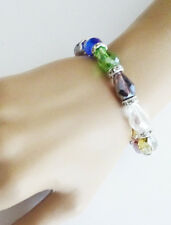 Beautiful AB Multi Coloured Glass Crystal Bead Bracelet Stretchy & Elasticated