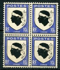 STAMP / TIMBRE FRANCE NEUF N° 755 ** BLOC DE 4 ARMOIRIES CORSE