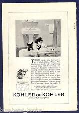 1925 KOHLER advertisement, bathroom pedestal sink, toy boat in bathtub
