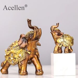 Feng Shui Wood Grain Elephant Statue Sculpture Wealth Figurine Gift Carved Natur