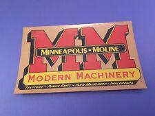 Original MINNEAPOLIS MOLINE Modern Machinery Sticker ~ 7.25 X 4.5 Inch