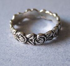 Mexican 925 Silver Taxco Oxidised Etched ROSE FLOWER RING Band any Finger Sz 8.5