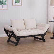 homcom schlafsofa klappsofa couch 2 sitzer stoff leinen creme